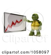 Royalty Free CGI Clip Art Illustration Of A 3d Tortoise Discussing A Growth Chart