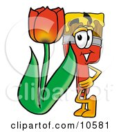 Paint Brush Mascot Cartoon Character With A Red Tulip Flower In The Spring
