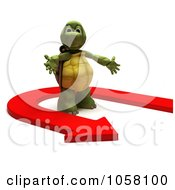Royalty Free CGI Clip Art Illustration Of A 3d Tortoise In A U Turn