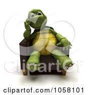 Royalty Free CGI Clip Art Illustration Of A 3d Tortoise Sitting In A Chair