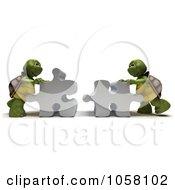 Poster, Art Print Of Royalty-Free Cgi Clip Art Illustration Of 3d Tortoises Assembling A Puzzle