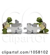 Royalty Free CGI Clip Art Illustration Of 3d Tortoises Assembling A Puzzle