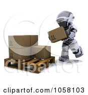 Royalty Free CGI Clip Art Illustration Of A 3d Robot Loading Boxes