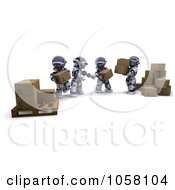 Royalty Free CGI Clip Art Illustration Of 3d Robots Passing Parcels