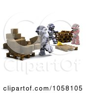 Royalty Free CGI Clip Art Illustration Of A Team Of 3d Robots Shipping Parcels