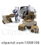 3d Robots Loading Parcels In A Van