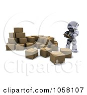 Royalty Free CGI Clip Art Illustration Of A 3d Robot Supervising The Shipping Process