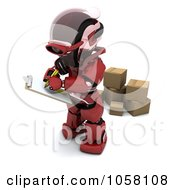 Royalty Free CGI Clip Art Illustration Of A 3d Robot Supervising Shipping