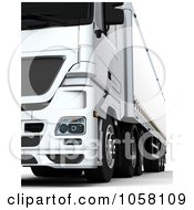 Royalty Free CGI Clip Art Illustration Of A 3d White Euro Big Rig Truck 1