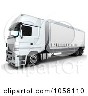 Royalty Free CGI Clip Art Illustration Of A 3d White Euro Big Rig Truck 2