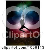 Royalty Free Vector Clip Art Illustration Of A Silhouetted Pole Dancer Over Colorful Lights by KJ Pargeter