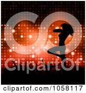 Royalty Free Vector Clip Art Illustration Of A Crowd Cheering On A Sexy Silhouetted Female Dancer Over Red Lights by KJ Pargeter