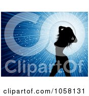 Royalty Free Vector Clip Art Illustration Of A Sexy Silhouetted Female Dancer Over Blue Rays by KJ Pargeter