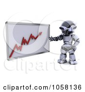 Royalty Free CGI Clip Art Illustration Of A 3d Robot Discussing A Growth Graph