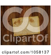 Royalty Free CGI Clip Art Illustration Of A 3d Grungy Piece Of Paper On A Wooden Floor