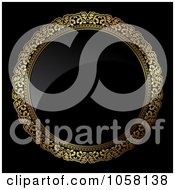 Royalty Free Vector Clip Art Illustration Of A 3d Golden Ornate Circle Frame With Shiny Black