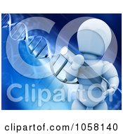 Royalty Free CGI Clip Art Illustration Of A 3d White Character Holding A Test Tube On A DNA Background