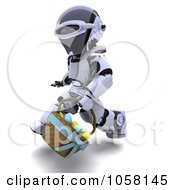Royalty Free CGI Clip Art Illustration Of A 3d Robot Running With An Easter Basket