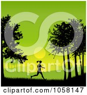 Royalty Free Vector Clip Art Illustration Of A Silhouetted Woman Jogging At Sunrise