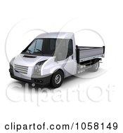Royalty Free CGI Clip Art Illustration Of A 3d Flat Bed Van Truck