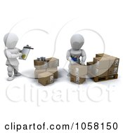 Royalty Free CGI Clip Art Illustration Of 3d White Characters Shipping Packages
