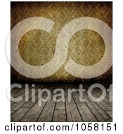 Royalty Free CGI Clip Art Illustration Of A Grungy Wood Floor Leading To Brown Wallpaper
