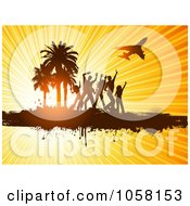 Royalty Free Vector Clip Art Illustration Of Silhouetted Dancers And Palm Tree On Grunge Under A Plan On Sun Rays