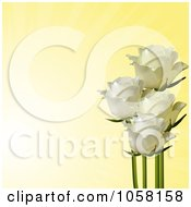 Royalty Free Vector Clip Art Illustration Of Ivory Roses On A Fading Yellow Background by elaineitalia