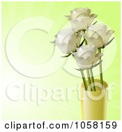 Ivory Roses In A Yellow Vase On A Fading Green Background