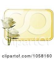 Royalty Free Vector Clip Art Illustration Of A Yellow Label With Two Ivory Roses