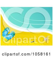 Royalty Free Vector Clip Art Illustration Of Flip Flops And A Starfish On A Beach By The Surf by elaineitalia