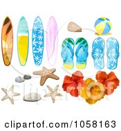 Royalty Free Vector Clip Art Illustration Of A Digital Collage Of Summer Time Beach Design Elements by elaineitalia