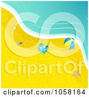 Royalty Free Vector Clip Art Illustration Of Flip Flops A Beach Ball And A Starfish On A Beach By The Surf