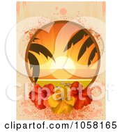 Royalty Free Vector Clip Art Illustration Of A Tropical Sunset Frame With Red And Yellow Hibiscus Flowers Over Pastel Grunge by elaineitalia