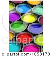 Royalty Free CGI Clip Art Illustration Of 3d Paint Buckets Of Different Colors