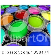 Royalty Free CGI Clip Art Illustration Of 3d Varied Colored Paint Buckets