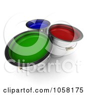 Royalty Free CGI Clip Art Illustration Of 3d Red Green And Blue Paint Buckets