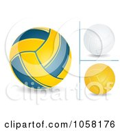 Digital Collage Of 3d Volleyballs