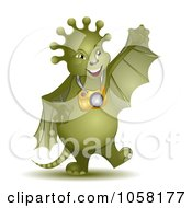 Royalty-Free Vector Clip Art Illustration of a 3d Green Alien With Wings And A Camera by MilsiArt