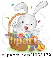 Royalty Free Vector Clip Art Illustration Of An Easter Bunny Celebrating In A Basket Of Eggs