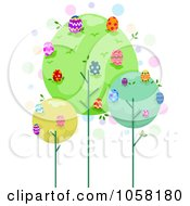 Royalty Free Vector Clip Art Illustration Of Trees With Easter Eggs In The Canopies