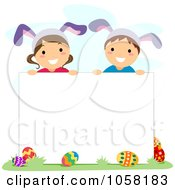 Easter Kids With Bunny Ears Over A Blank Sign