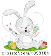 Royalty Free Vector Clip Art Illustration Of An Easter Bunny Sitting With Paint Cans And Decorating Eggs by BNP Design Studio