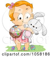 Royalty Free Vector Clip Art Illustration Of An Easter Girl Carrying A Basket Of Eggs And A Rabbit