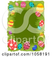 Royalty Free Vector Clip Art Illustration Of An Easter Frame Of Colorful Eggs Over Grass