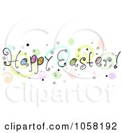 Royalty Free Vector Clip Art Illustration Of A Happy Easter Greeting With Spirals And Bubbles