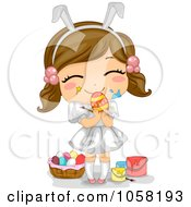 Royalty Free Vector Clip Art Illustration Of An Easter Girl With Paint On Her Face Holding An Egg