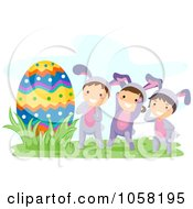 Royalty Free Vector Clip Art Illustration Of Easter Kids In Bunny Costumes Discovering A Giant Egg