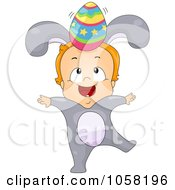 Royalty Free Vector Clip Art Illustration Of A Toddler In A Bunny Costume Balancing An Egg On His Head