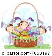 Royalty Free Vector Clip Art Illustration Of Easter Kids In Bunny Costumes Putting Eggs In A Basket by BNP Design Studio